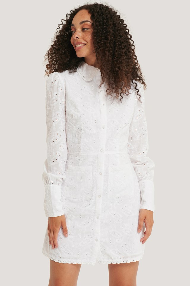 Front Pocket Anglaise Dress White