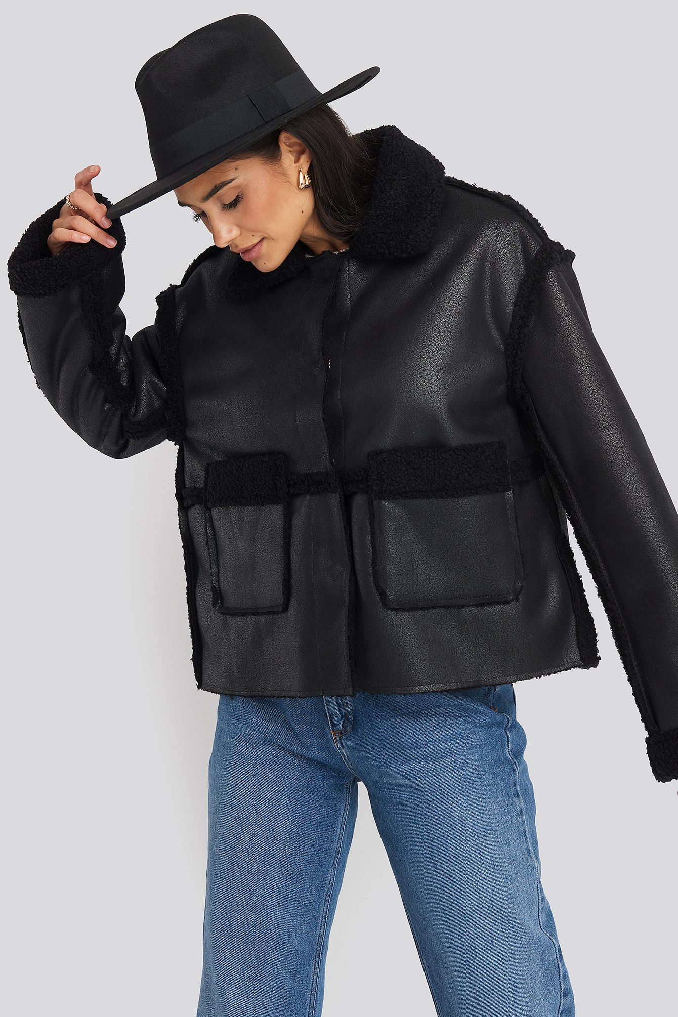 Black Front Pocket Teddy Jacket