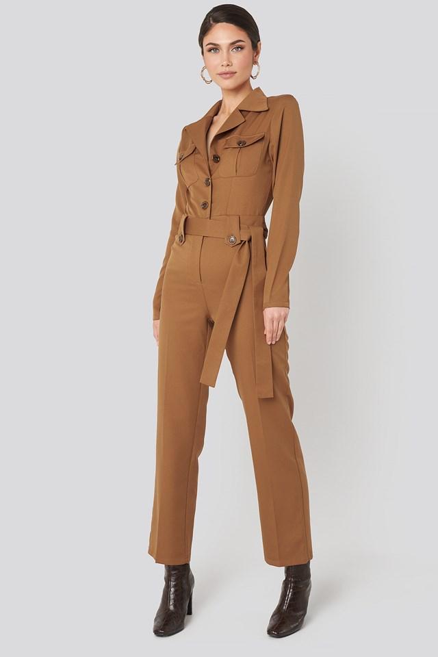Front Pocket Tied Waist Jumpsuit Brown