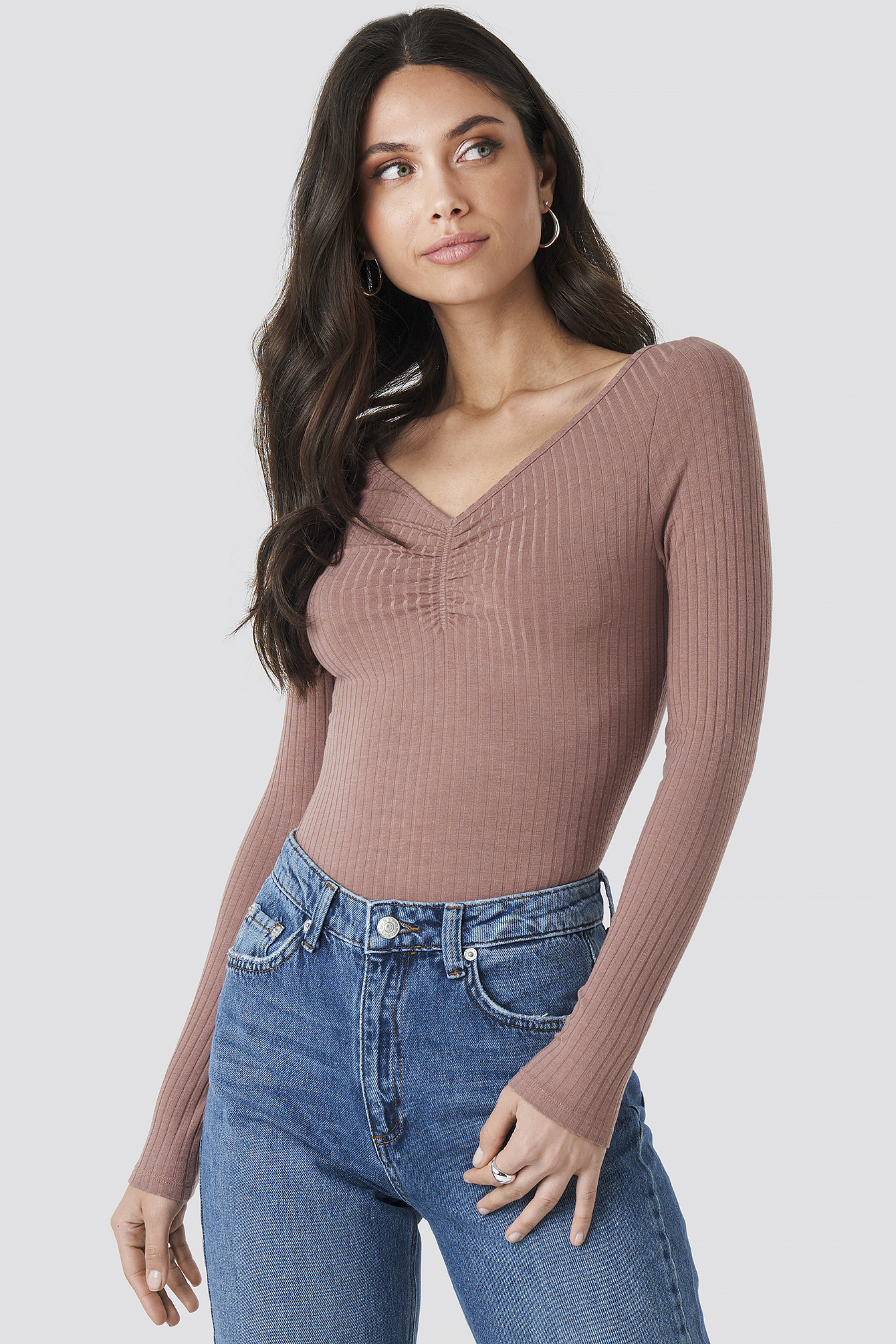 Dusty Dark Pink Front Ruched Ribbed Top