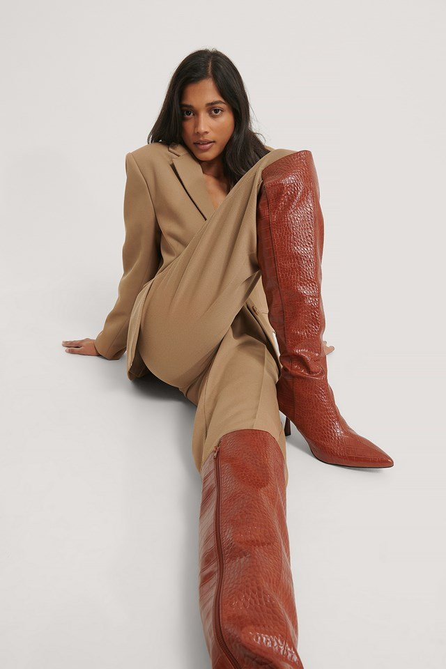 Brown Croco Front Seam Knee High Boots