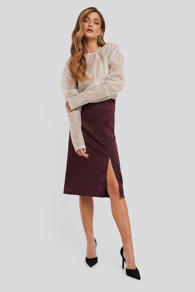 Burgundy Front Slit Satin Skirt