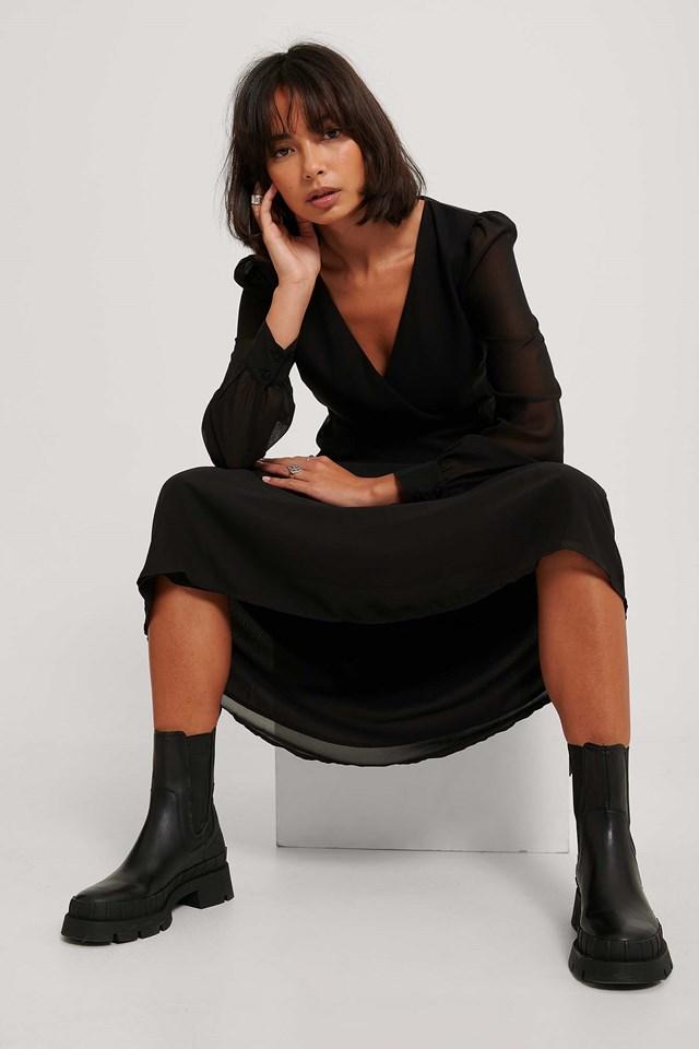 Black Szyfonowa Sukienka Midi Z Kopertowym Przodem
