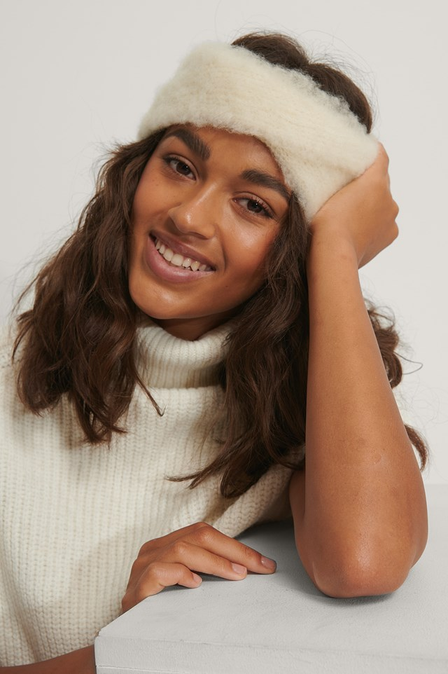 Fuzzy Knotted Headband Offwhite