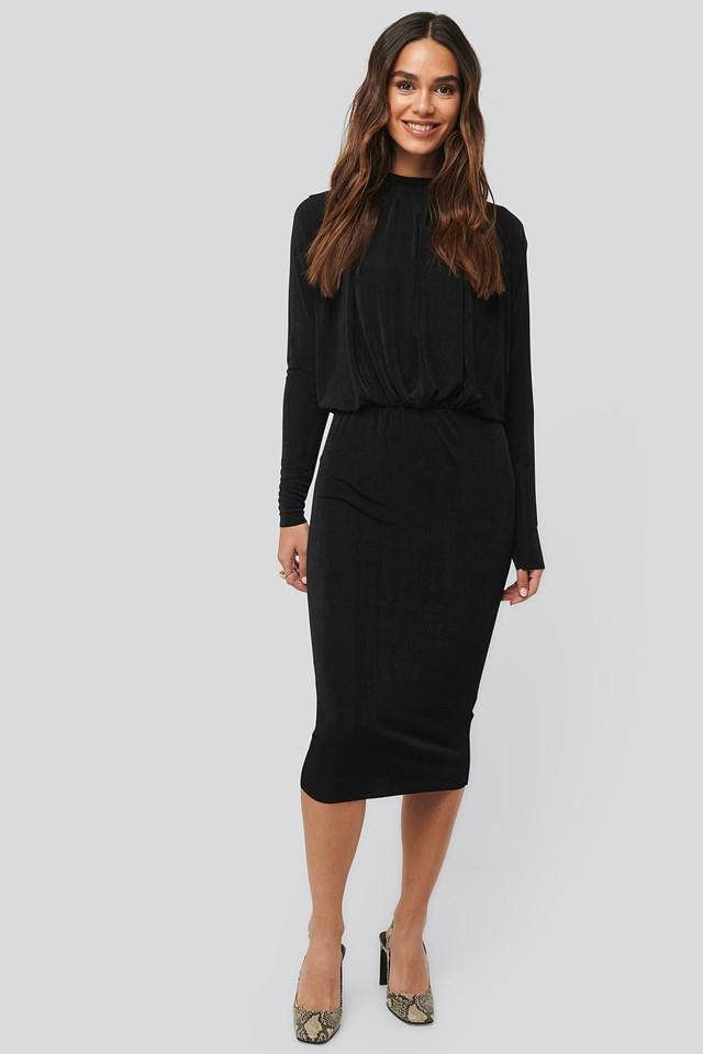 Black Gathered Waist Knit Dress