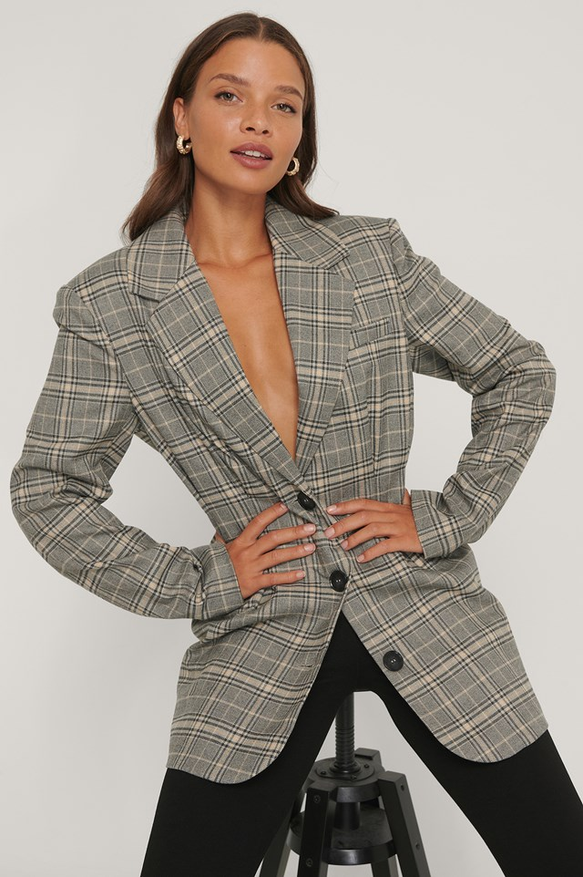 Gathered Check Blazer Check