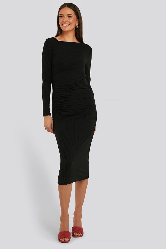 Gathered Jersey Dress Black