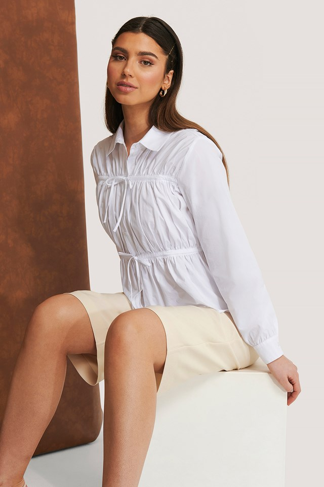 Gathered Shirt White