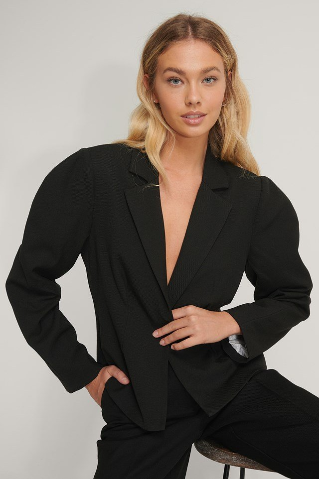Gathered Short Blazer Black