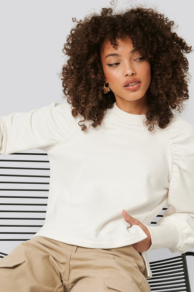 Gathered Sweatshirt Off White