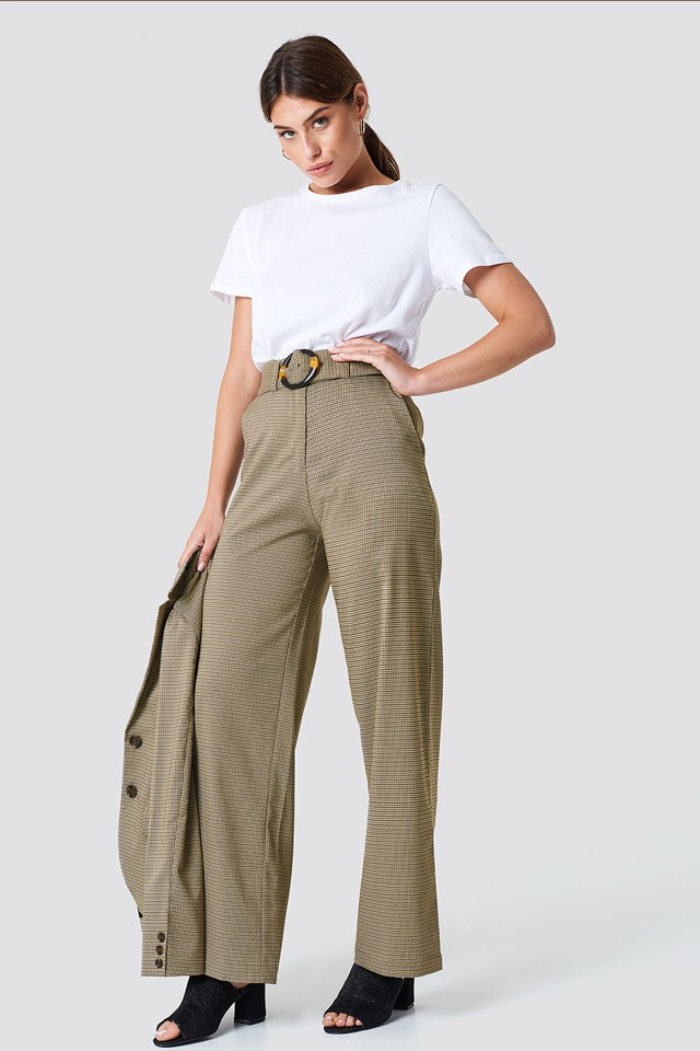 Gathered Waist Dog-tooth Pants Brown