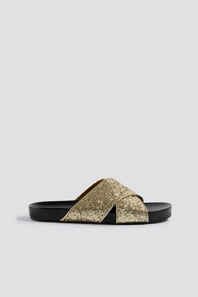 Glitter Cross Strap Slippers Gold