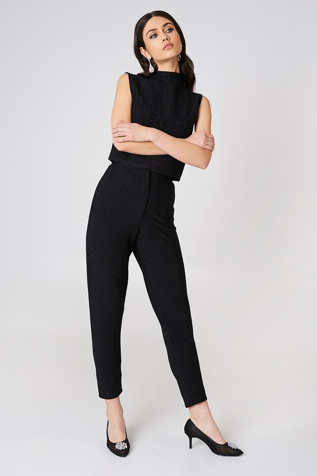 Glittery Highwaist Trousers Black