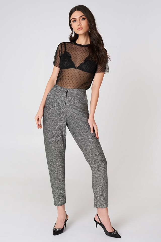Glittery Highwaist Trousers Silver