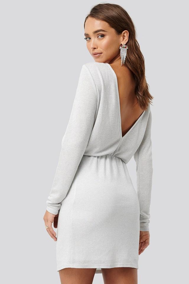 Glittery Open Back Mini Dress White