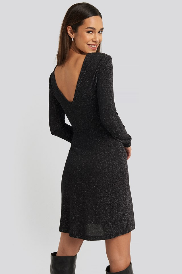 Black Glittery V-neck Dress