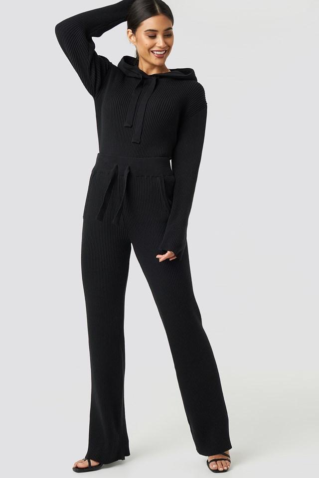 Greg Rib Knitted Pants Black