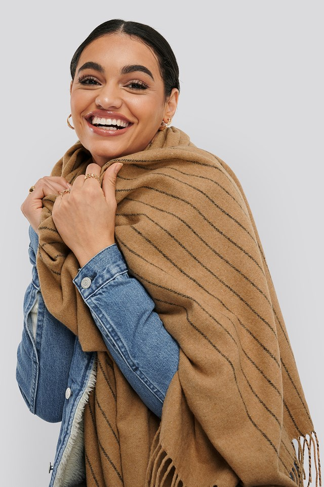 Half Striped Soft Scarf Beige