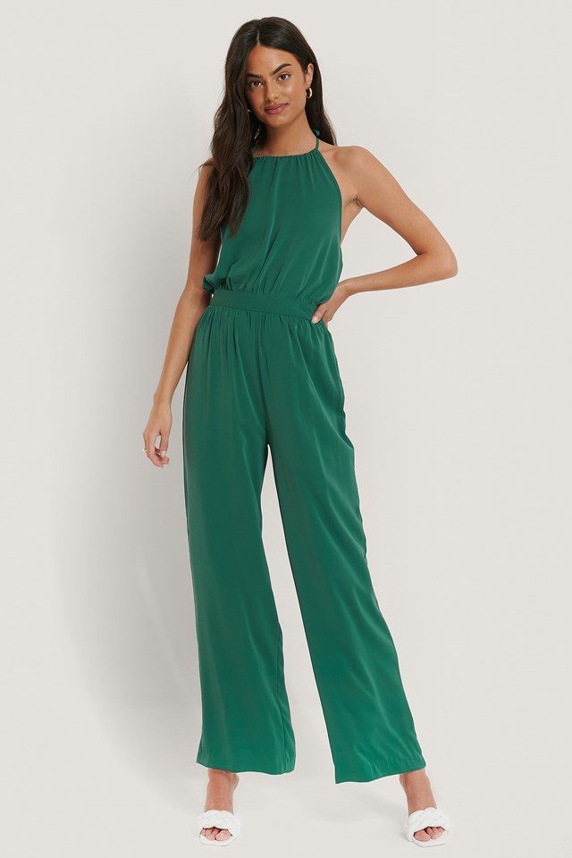 Halterneck Jumpsuit Green