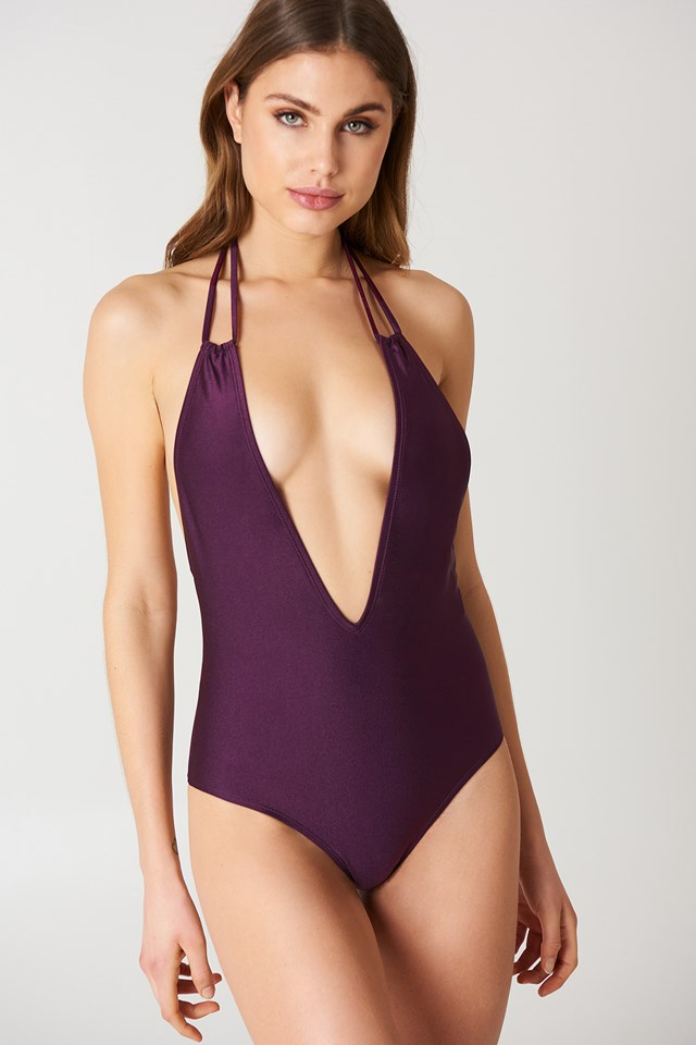 Dark Purple Halterneck Plunge Swimsuit