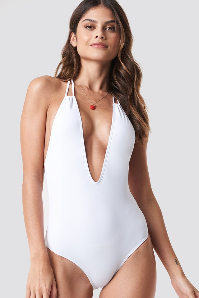 White Halterneck Plunge Swimsuit
