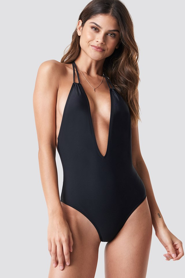 Black Halterneck Plunge Swimsuit