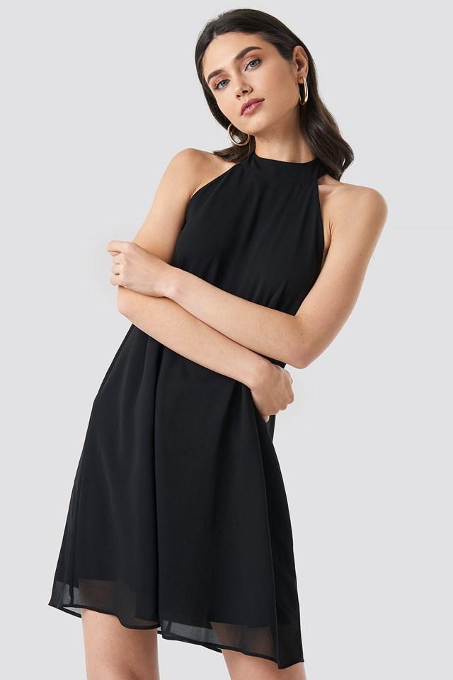 Black Halterneck Swing Dress