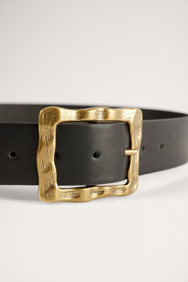 Black Hammered Buckle Belt