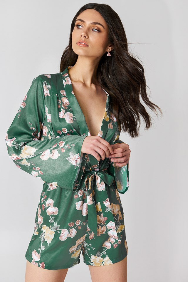 Deep V-neck Satin Playsuit Green Orchid Print