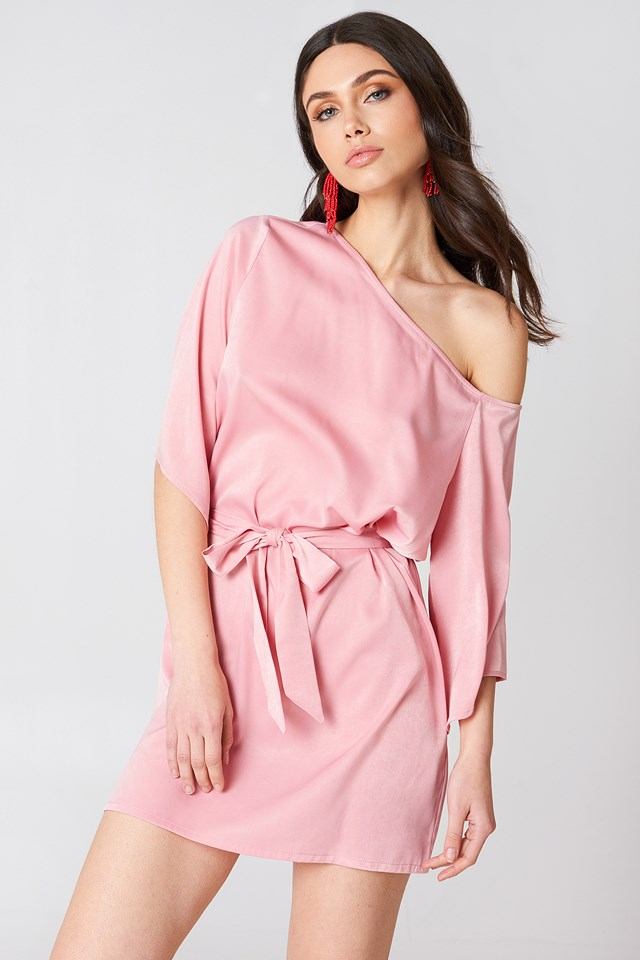 One Shoulder Tie Waist Dress Light Pink