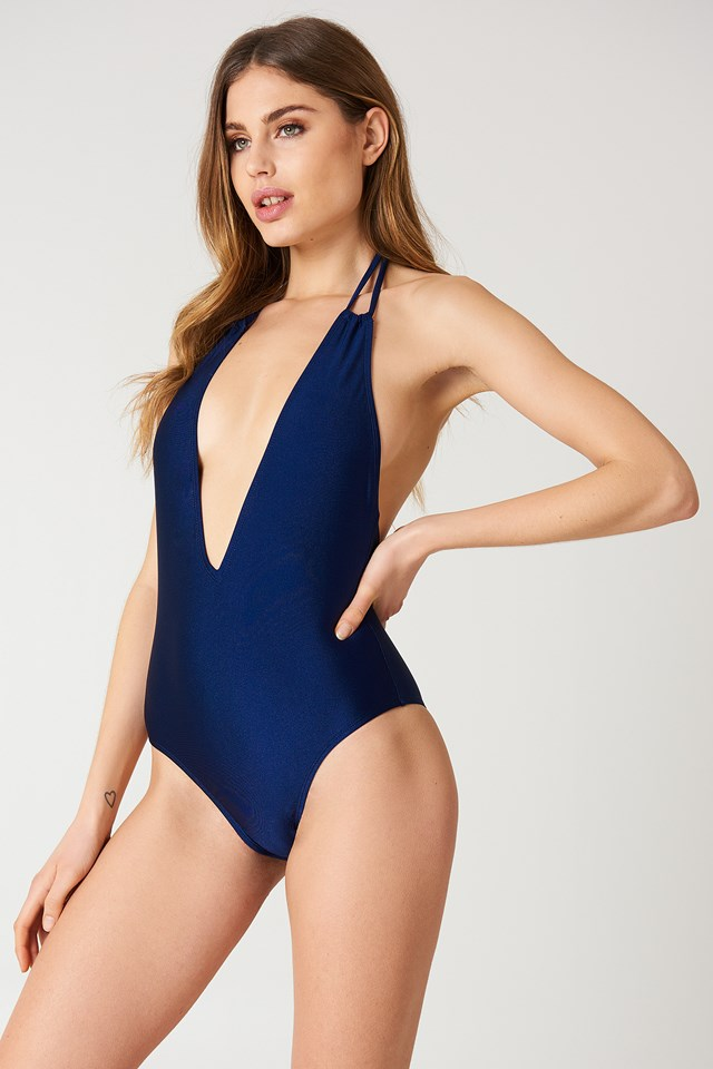 Dark Blue Halterneck Plunge Swimsuit