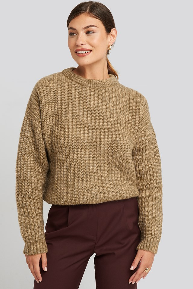 Heavy Knit Round Neck Sweater Beige