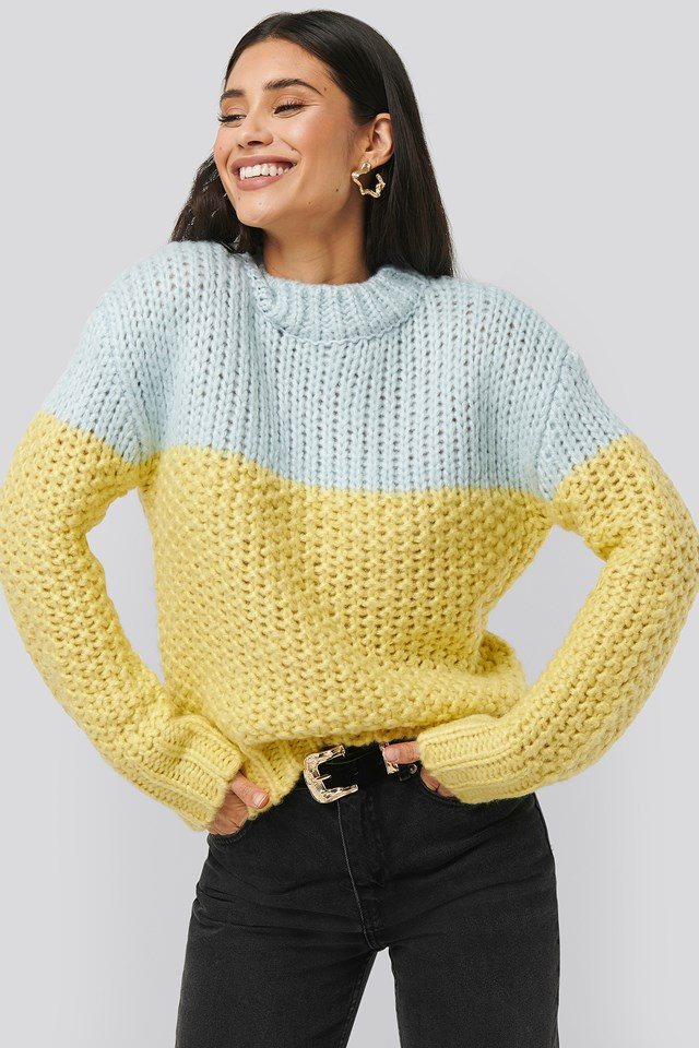 Heavy Knitted Wide Rib Sweater Blue Combo