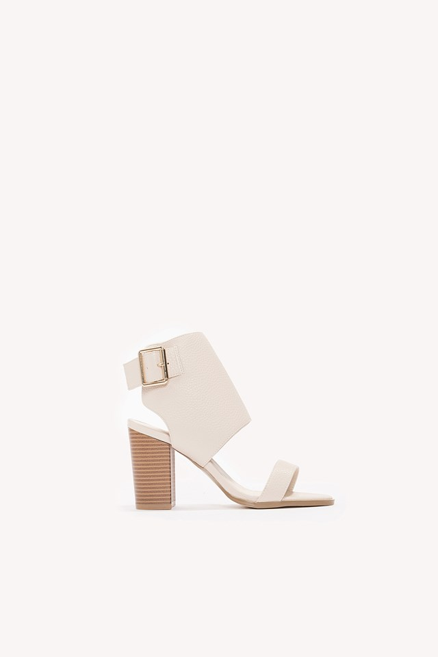 Heeled Buckle Sandals Nude