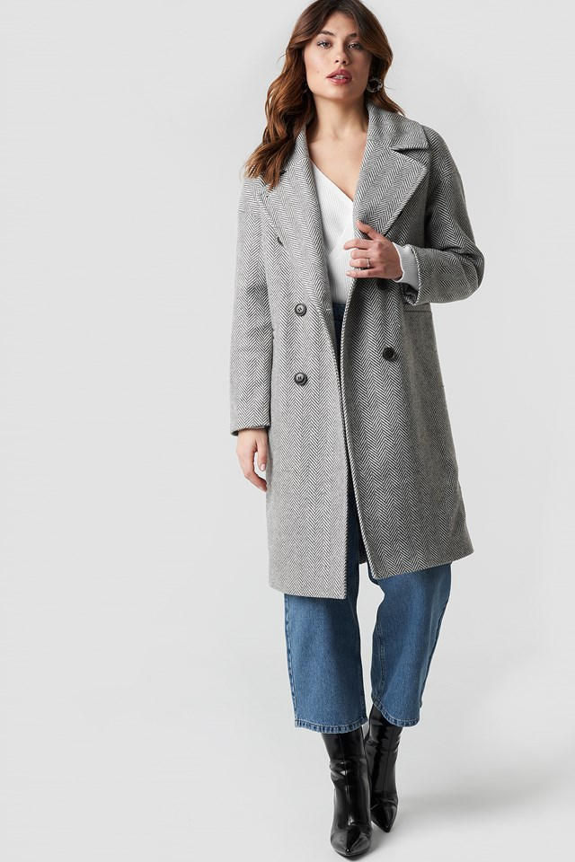 Herringbone Double Breasted Coat Grey Pattern