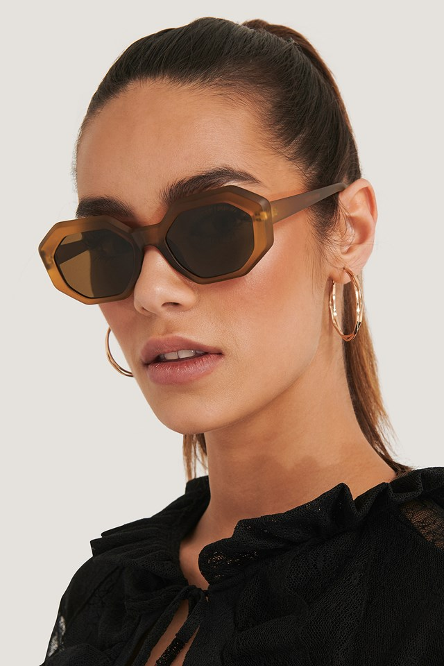 Hexagon Sunglasses Brown