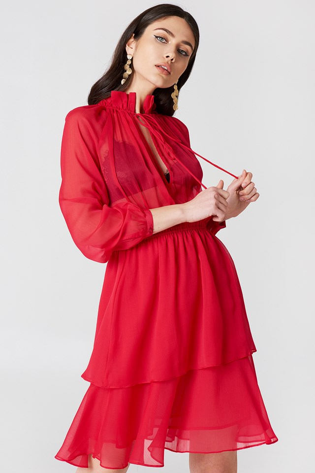 High Frill Neck Dress Red