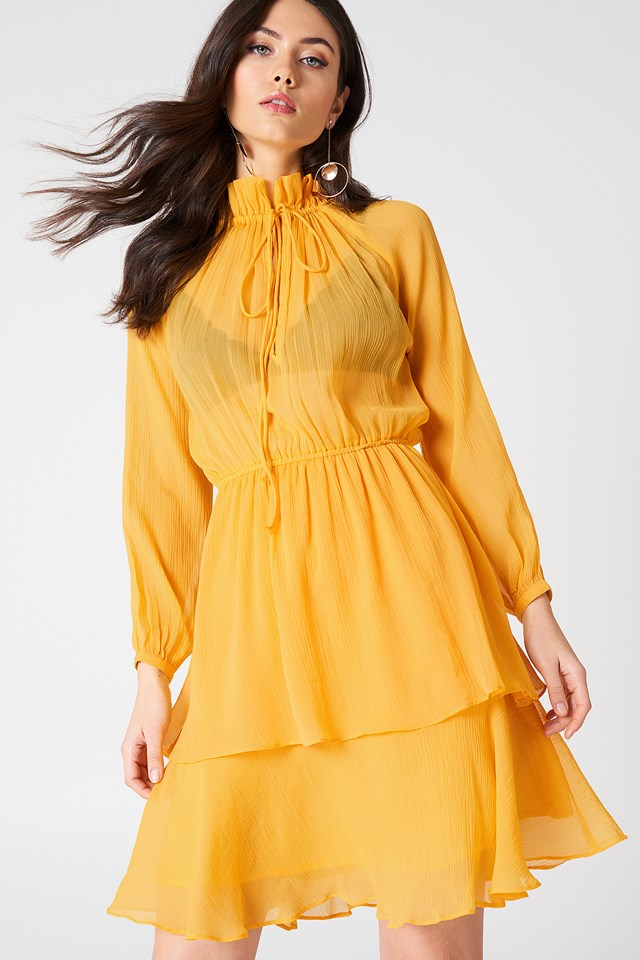 High Frill Neck Dress Citrus