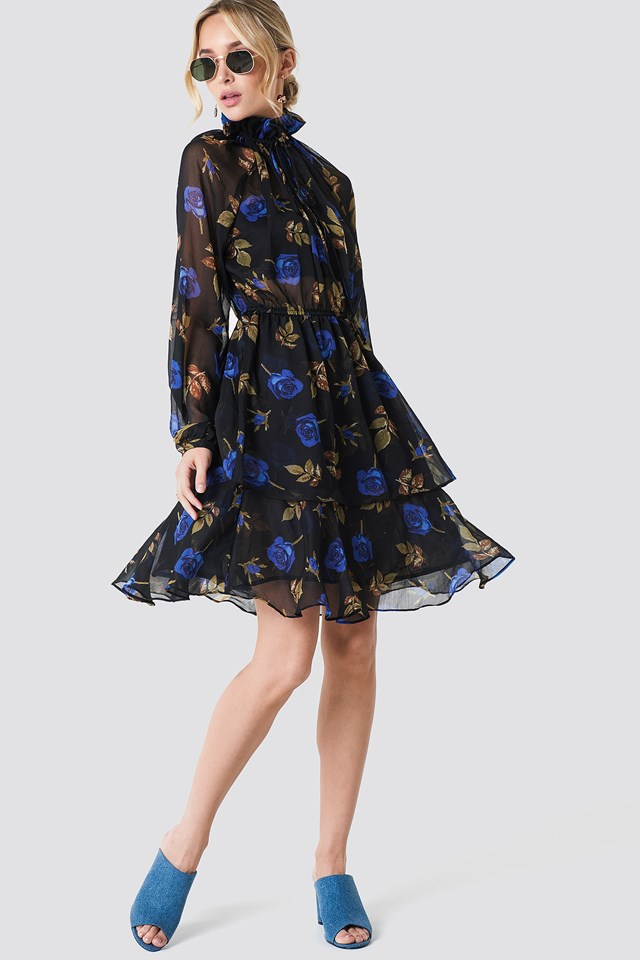 High Frill Neck Dress Blue Roses