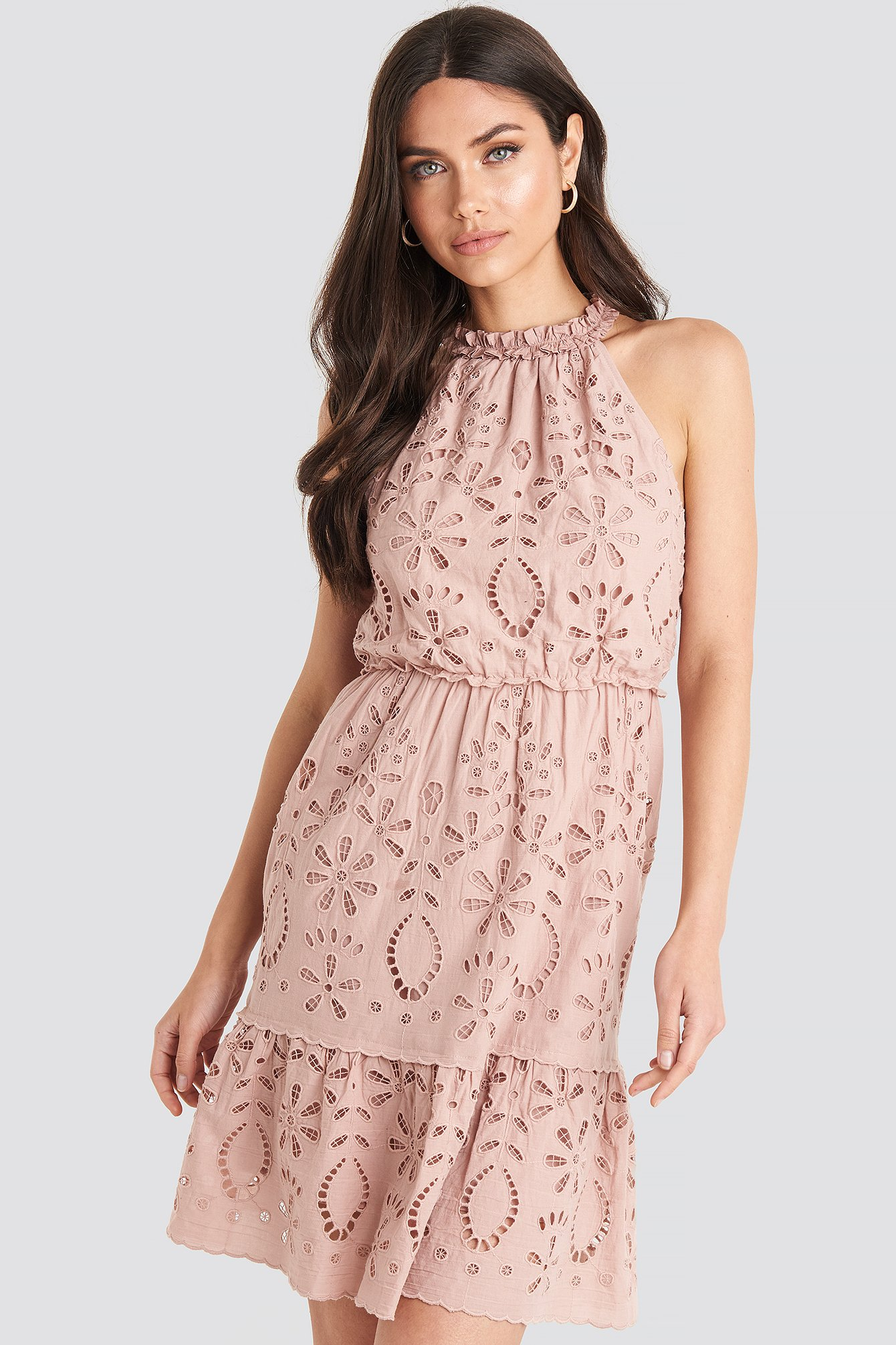 Dusty Pink High Neck Anglaise Dress