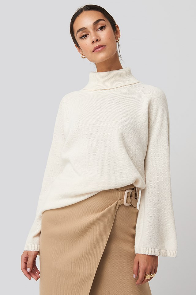 High Neck Wide Sleeve Sweater White