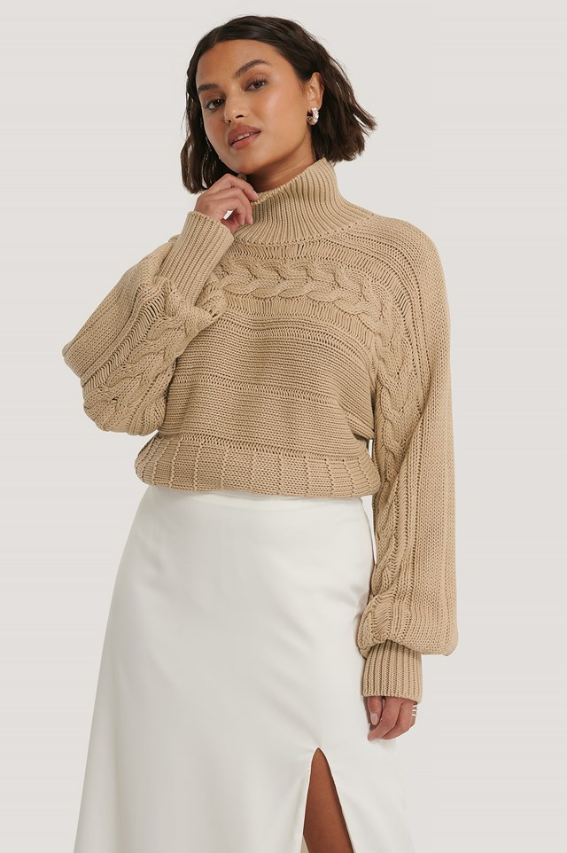 Beige High Neck Cable Detail Knitted Sweater