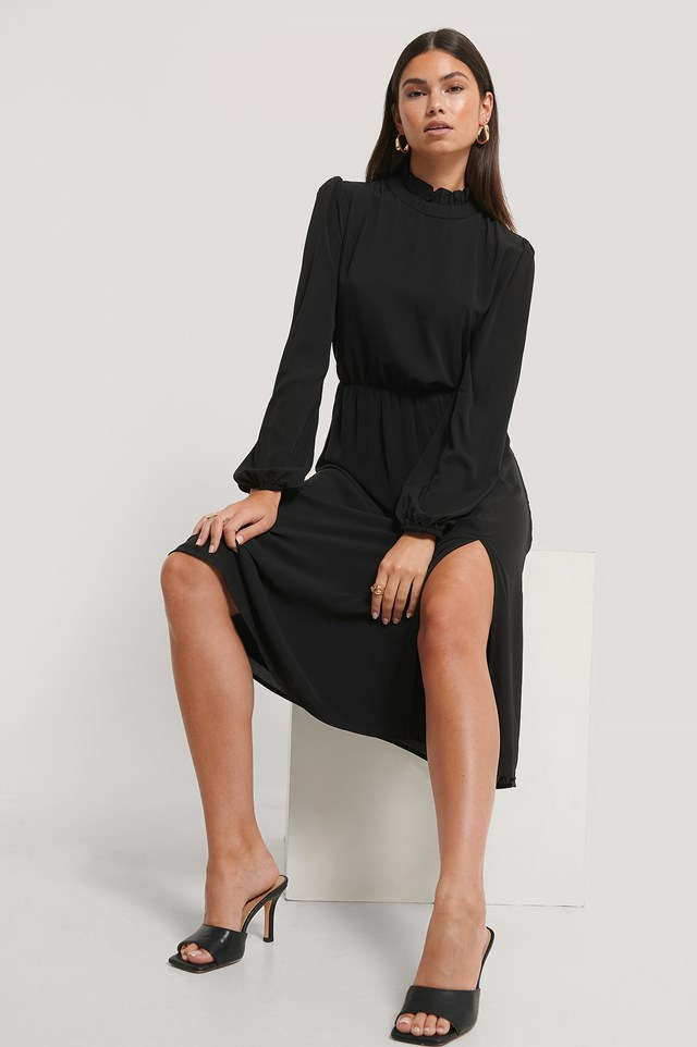 Black High Neck Elastic Waist Midi Dress