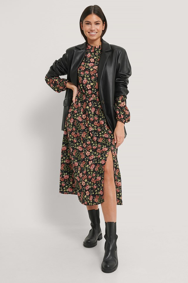 Black Flower Print High Neck Elastic Waist Midi Dress