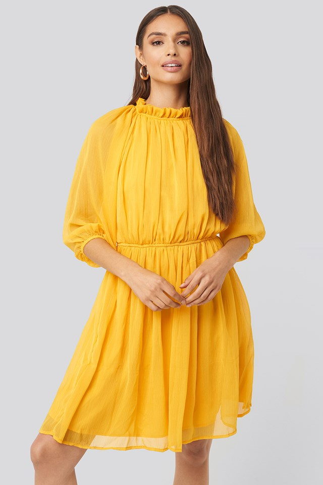 High Neck Elastic Waist Puff Dress Citrus