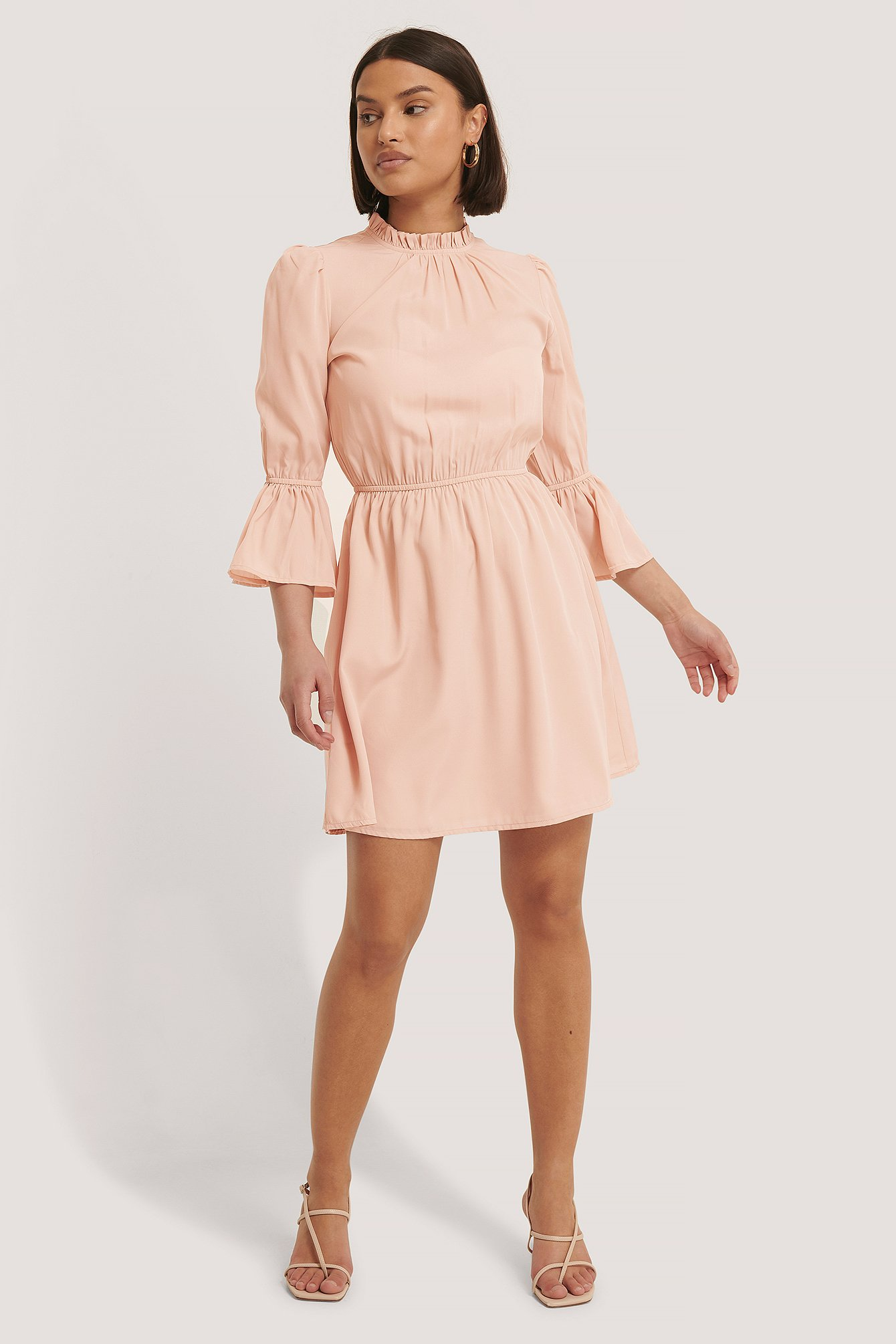 Dusty Pink High Neck Flare Mini Dress