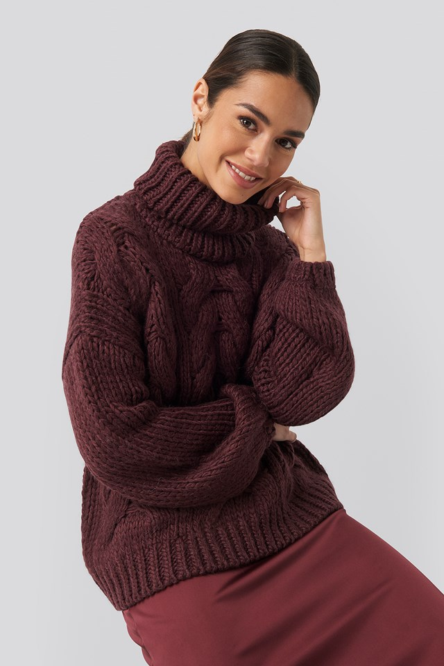 Plum Wool Blend High Neck Heavy Cable Knitted Sweater