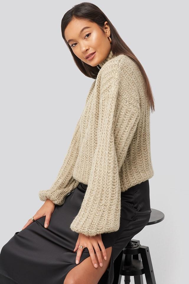 Ciepły Sweter Z Dzianiny Beige