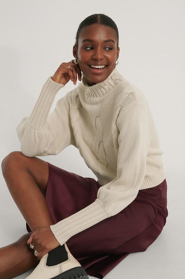 High Neck Knit Balloon Sleeve Sweater Light Beige