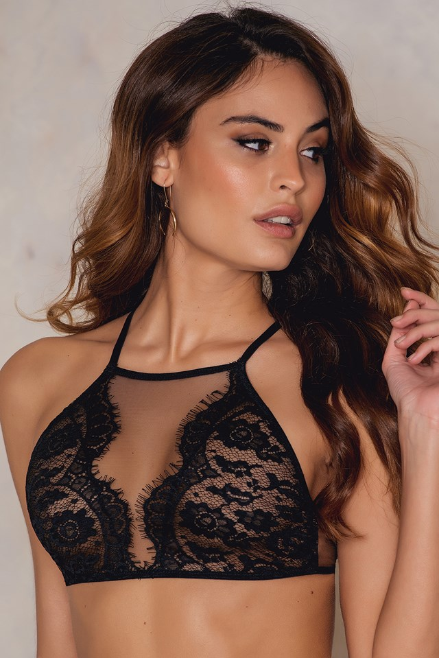 High Neck Lace Bra Black
